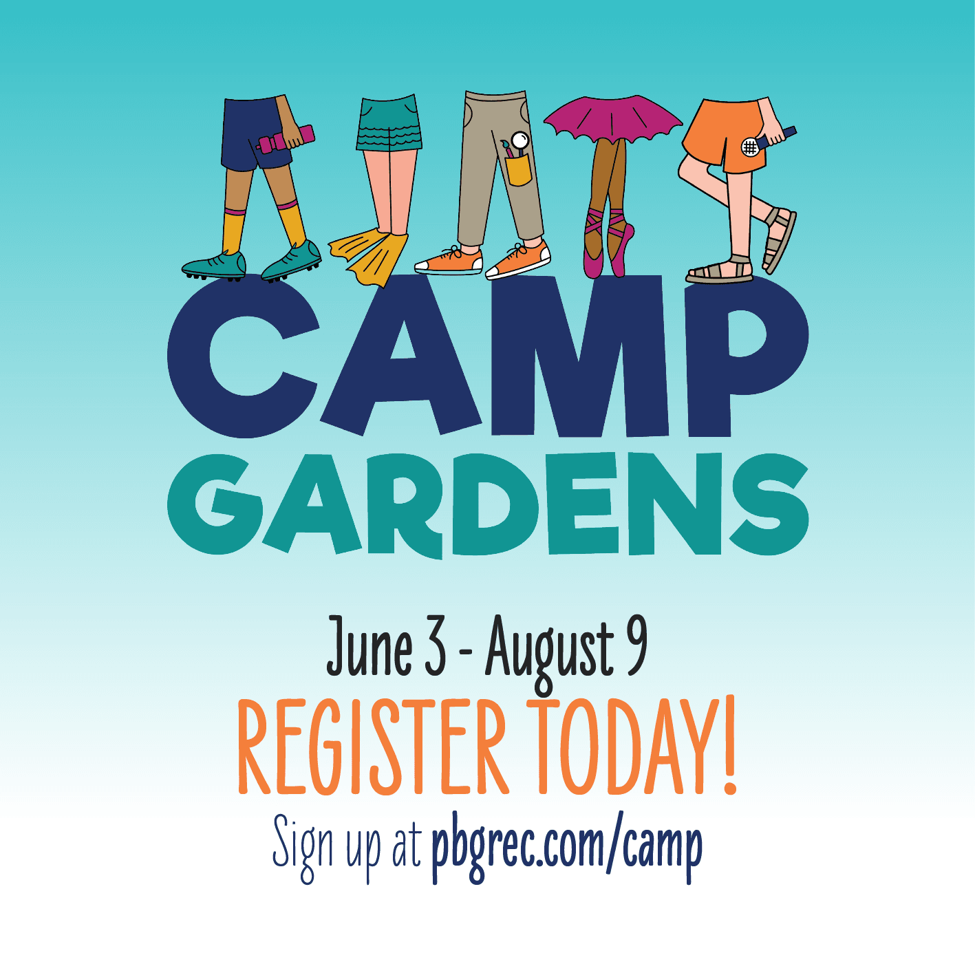 Register today for Camp Gardens, June 3- August 9. Link to camp registration.