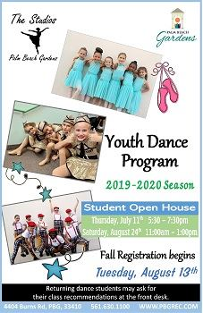 The Studios at Palm Beach Gardens, Youth Dance Program 2019-2020 Season, Student Open House, Tuesday