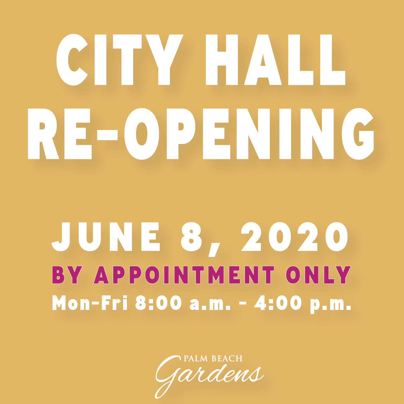 City Hall Re-opening June 8