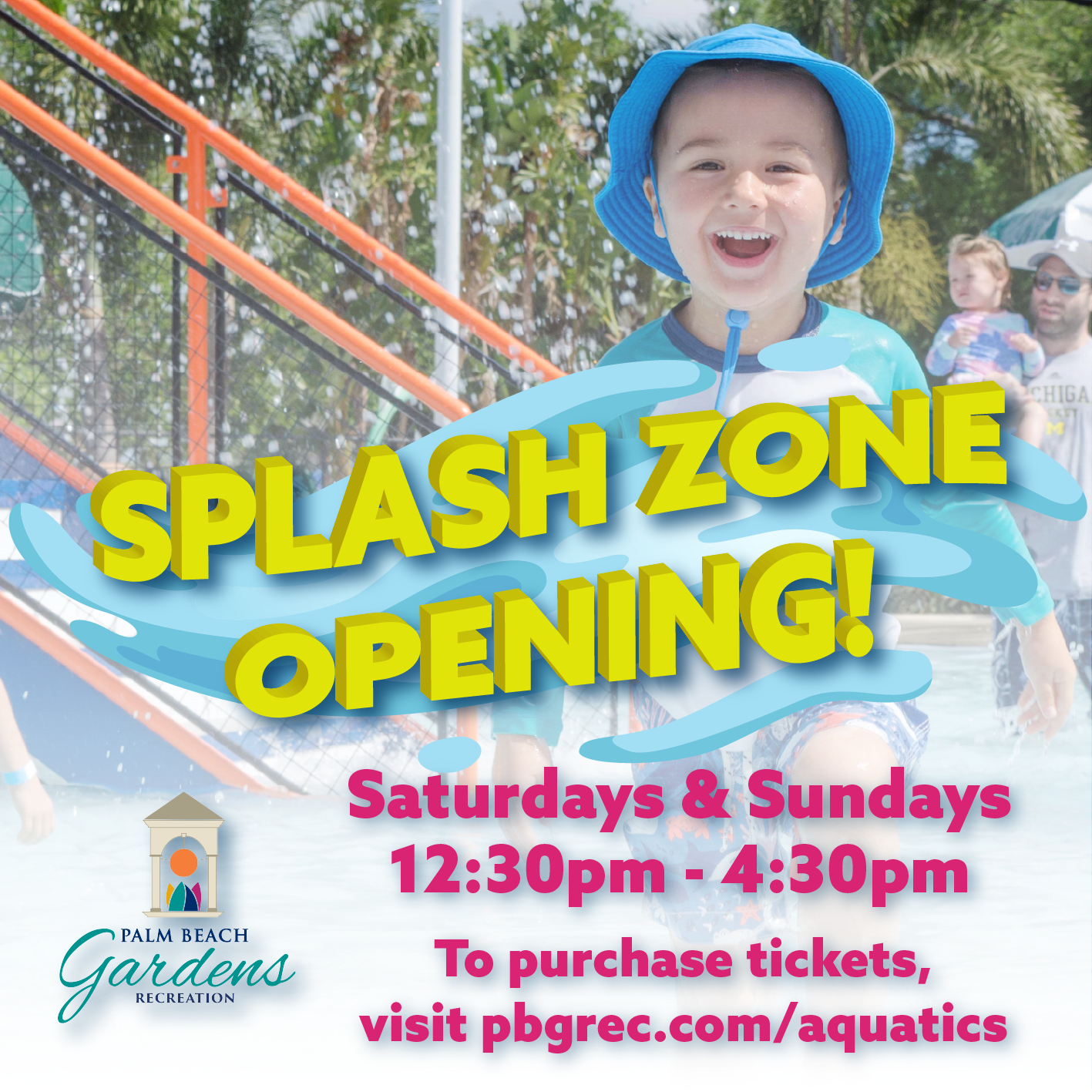 Splash Zone reopening on Saturdays and Sundays from 12:30 p.m. to 4:30 p.m. starting September 12th.
