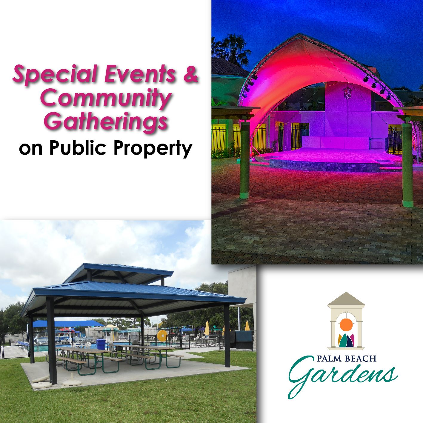Special events and community gatherings notice on public property.