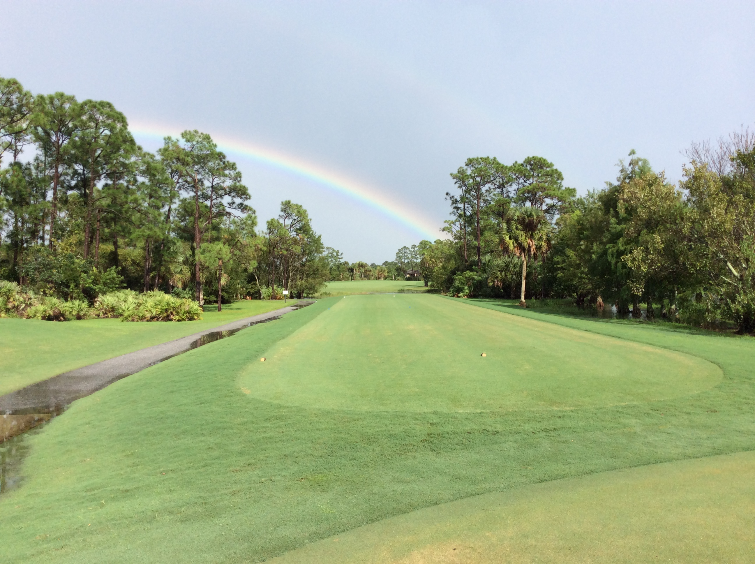 Rainbow Over Hole 1 at Sandhill Crane Golf Club.