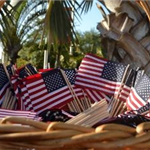 A basket of small American flags