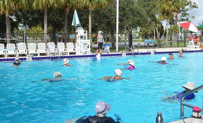 A group of women in the water doing water aerobics with the instructor on deck.