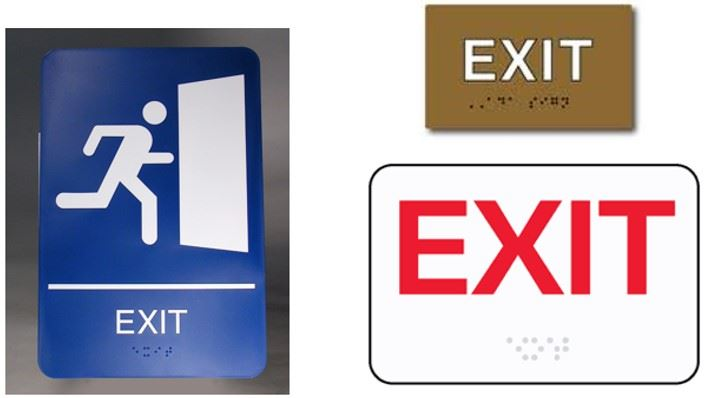 Three sample Exit Signs with Braille markings.
