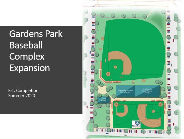 Rendering of Gardens Park Baseball Expansion