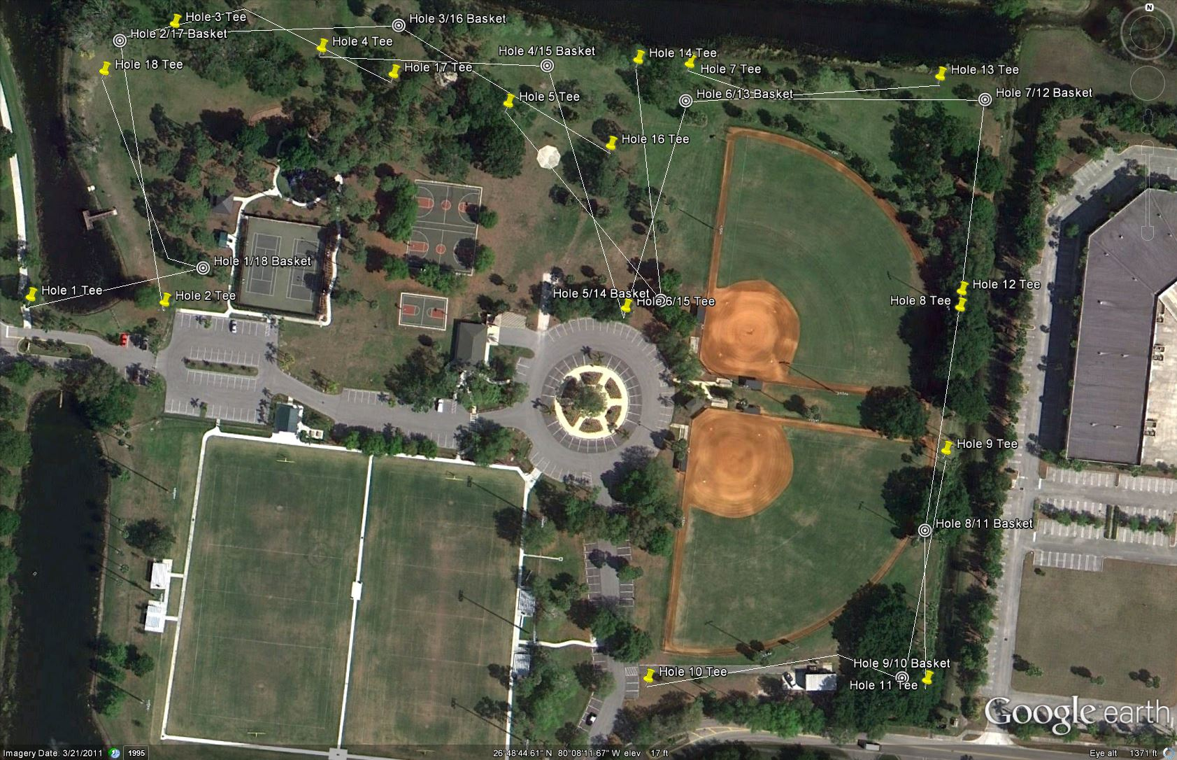 Aerial of disc golf.