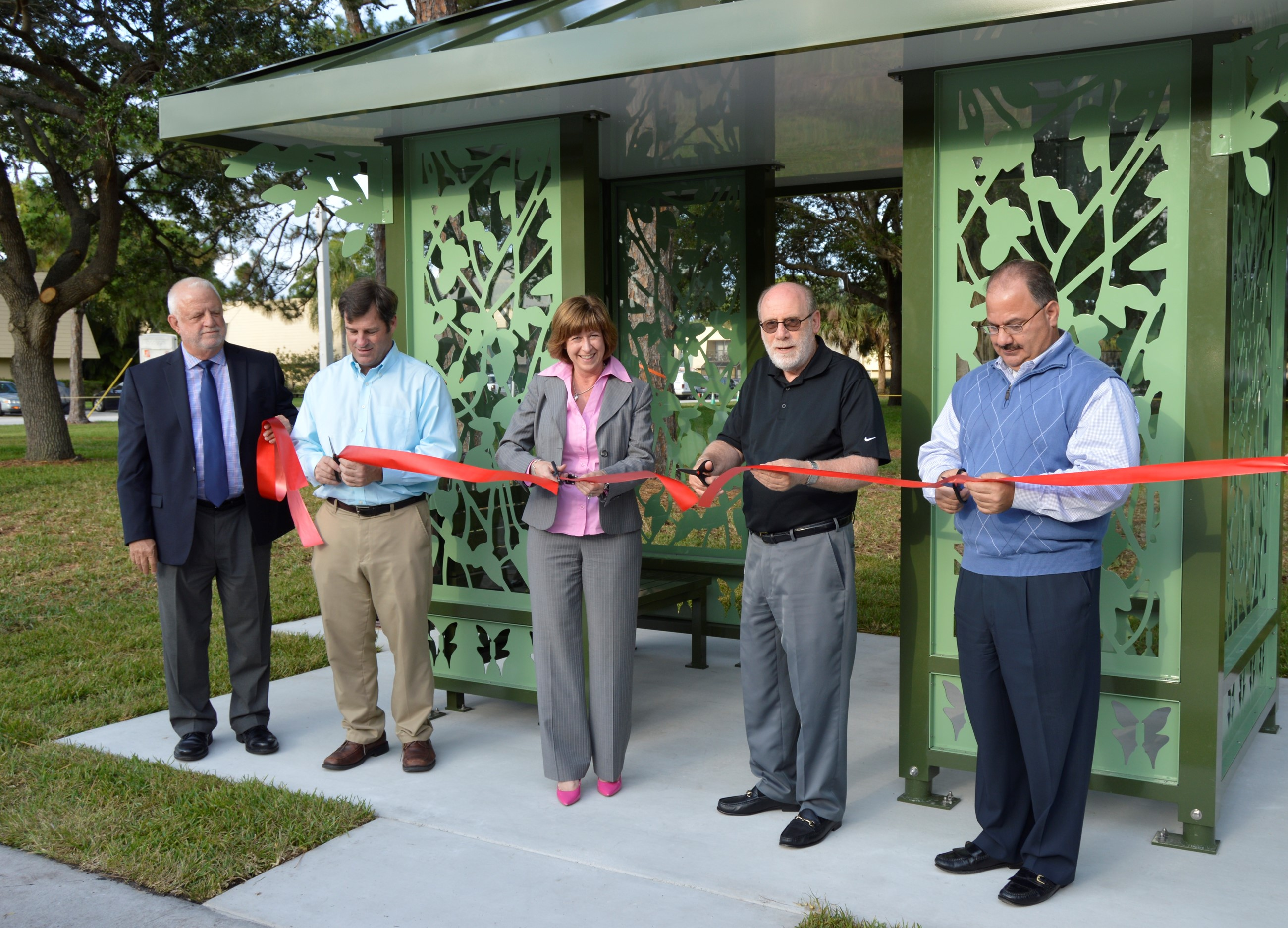 Artistic Bus Shelter Ribbon Cutting